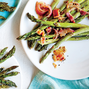 Asparagus with Bacon and Shallots  Photo: Jennifer Causey Styling: Lindsey Lower