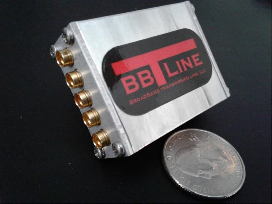 BBTLine broadband low loss high power 4 way RF splitter combiner SMP Connectors