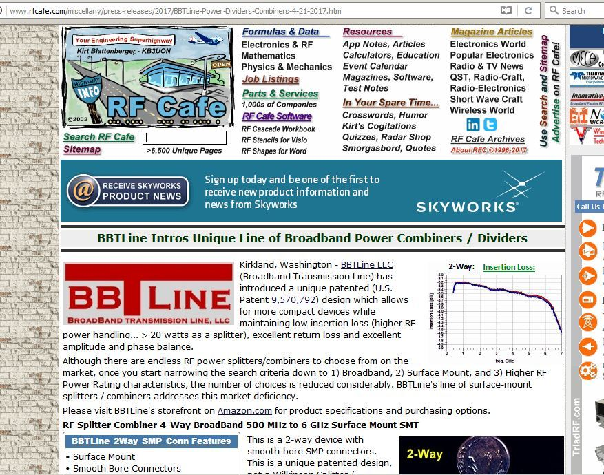 BBTLine on RF Cafe advertising splitter