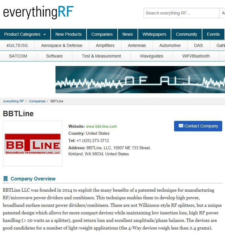 BBTLine on everythingRF broadband splitter advertiser