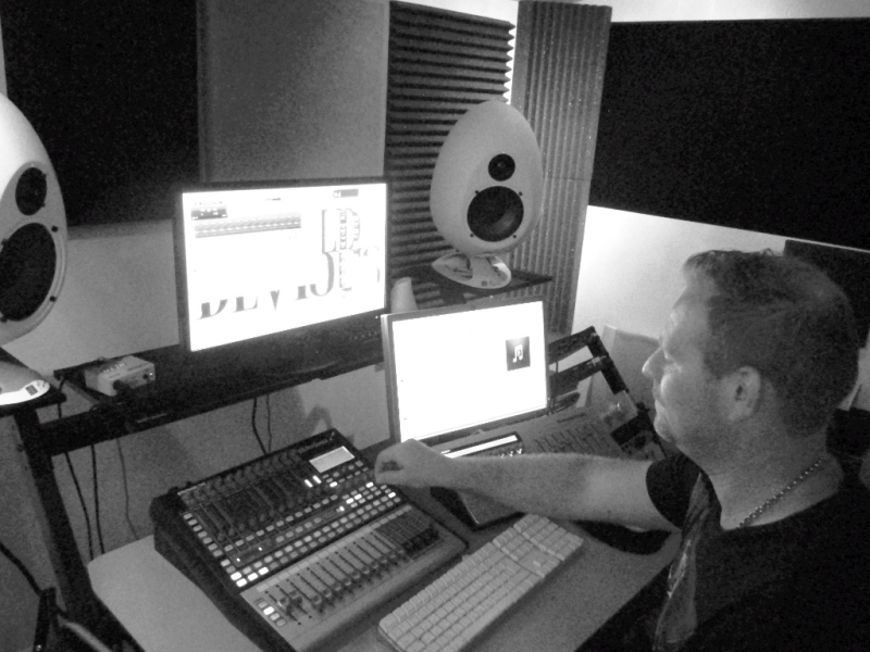 At work in the Recording studio in Tadworth, Remixing etc.