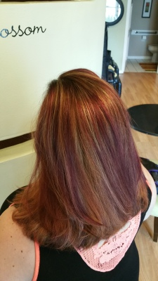 Rose Gold with Violet Highlights