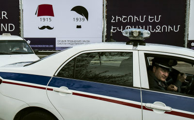 Yerevan, Armenia. Throughout the city you can see posters recalling the Genocide. Police patrolling the most sensitive sites