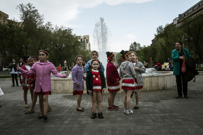 Yerevan, Armenia. Children participate in a dance class in the city center