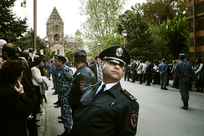 Echmiadzin, Armenia. In one of the most sacred louis for the Armenian Church the Supreme Patriarch and Catholicos of All Armenians, Karekin II, celebrated the canonization of all the martyrs of Genocide. The presence of police and military is impressive for fear of attacks.