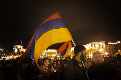 Yerevan, Armenia. The night between 24 and 25 April all poolazione went to the main square of the city, Republic Square, for a candlelight vigil until the memorial.