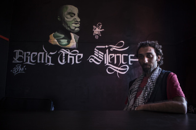 Temraz, rapper, in the headquarter of Revolution Record