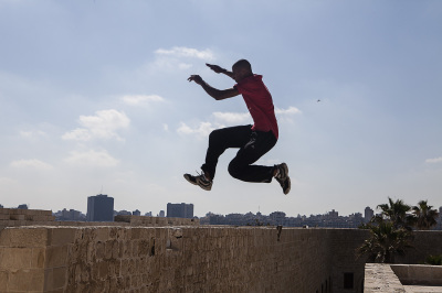 2DF parkour team performing at Citadel of Qaitbay