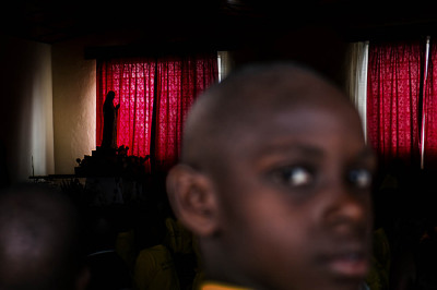 Rwanda, Kibeho. Many school children from all over the country come to Kibheo to hear the words of the seer Nathalie.