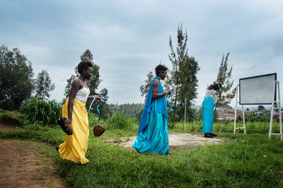 Rwanda, Kibeho. The chorus girls are preparing for the ceremony.
