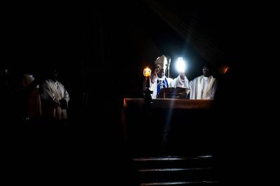 Rwanda, Kibeho. Night celebration of the apparition of the Holy Mary.