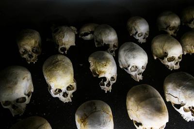 Kigali, Rwanda. Skulls in the memorial museum of genocide.