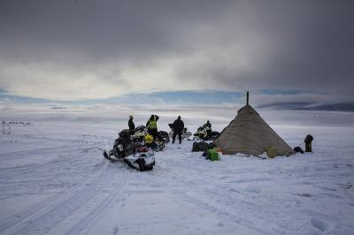 Norway, Finnmark. The tent of a Sami reindeer breeder.