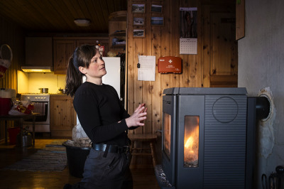 Norway, near Karasjok. Hanna Bremseth in one of the house of the Reindeer Police.