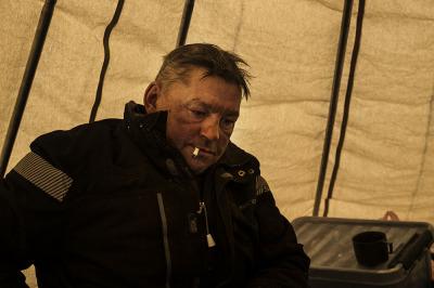 Norway, Finnmark. Inside the tent of a reindeer breeder.
