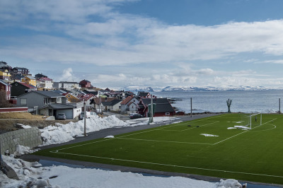 Norway, Nordkapp. A football field in the place that is commonly referred to as the northernmost point of Europe.