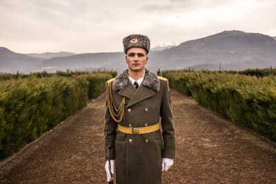 Stepanakert, NKR. Aper  Armanovich is a member of guard of honor of Karabakh