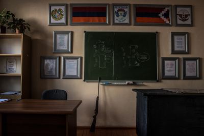 Stepanakert, NKR. inside the Secondary school number 7 Yenghishe Charents there's also a class where students can learn to use a rifle and have military teachings.