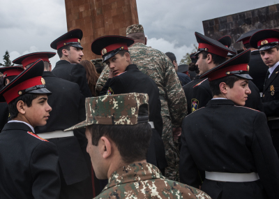 Stepanakert, NKR. Young soldiers during the first triple anniversary celebrations sfter the war events of april 2016. Every May,9 in Karabakh people celebrate the liberation of the city of Shushi during the first war against Azerbaijan, the formation of the Karabakhian army and the victory in the second world war.