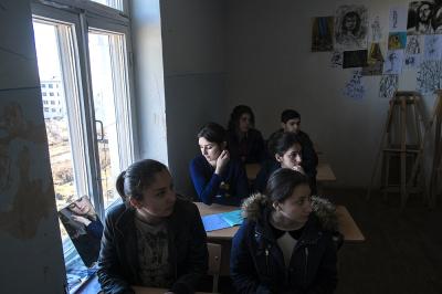 Shushi, NKR. Shushi Liberal Arts College Arsen Khachatryan. Larisa davtyan, reflecting in the mirror during a painting lesson.