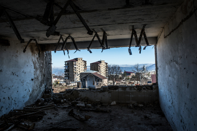 Shushi, NKR. Inside an heavy damaged building in the citycenter. Shushi has been theatre of very heavy fights in 1992 and the conquer of the town by the Armenian forces has been a turning point for the fate of the war since Shushi was the stronghold from where the Azere seized Stepanakert.