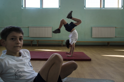 Stepanakert, NKR. Secondary school number 1, Khachatur Aboyan. Student during the sport lesson.