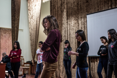 Stepanakert, NKR. Artsakh State University. Anna Sargsyan, 19 years old during the reharsals of a musical organized on occasion of the international women's day.