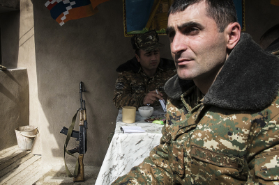 NKR frontline with Azerbaijan, Agdam area. Soldiers in the trench. Along th econtact line ,the closest point between the two armies is just 25 meters and the skirmishes are are increasing.