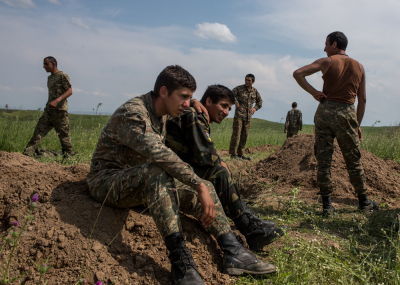 NKR Frontline with Azerbaijan, Hadrut region. Young soldiers daily life's inside the trenches. Arayik Khachatryan, 19, Davit Hakobjanyan, 19, Hayk Melqumyan, 19, Grisha Barseghyan, 20, Edgar Prikyan, 19 and Vahe Mkrtchyan, 19 during a break of the fightings. Along the contact line, the closest point between the two armies is just 200 meters