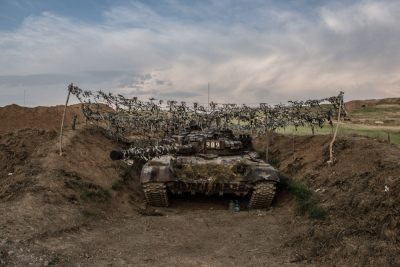 NKR Frontline with Azerbaijan, Hadrut region. A tank hided in the trenches.