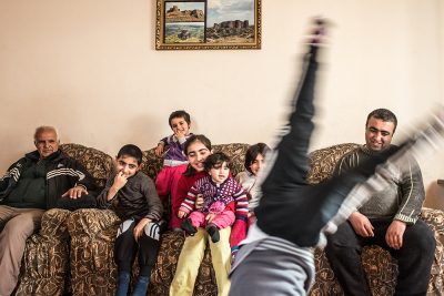 Madagis village, Martakert region,NKR. Stepan Avanesyan with his wife Astghik and their 6 children Narine (12), Bagrat (9), Janna (8), Tigran (6), Hellen (4), Mane (1). 4 of them go to the village's school, 2 in the kindergarden and 1 stays at home. Stepan is an history teacher in the village's school.
