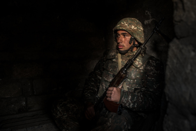 NKR Frontline with Azerbaijan, Hadrut region. Young soldiers daily life's inside the trenches. Davit Vardanyan, 20, portraited in the trenches during his turn of guard.