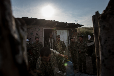 NKR Frontline with Azerbaijan, Hadrut region. Young soldiers daily life's inside the trenches.