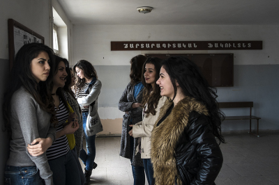 Stepanakert, NKR. Artsak State Univerity. Group of students during a break. Being an unrecognized country, graduation has value only in NKR and Armenia