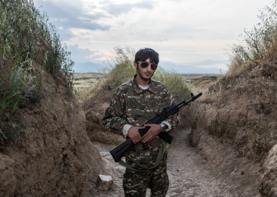 NKR Frontline with Azerbaijan, Hadrut region. Young soldiers daily life's inside the trenches. Gharib Budaghyan portraited in the trenches during his turn of guard.
