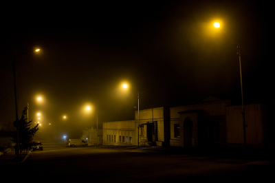 Stepanakert, NKR. A night view in the city center. There is only one night club in the city. Most of the young people prefer to meet in the houses or have dinner at the restaurant. Late night streets are quite desert.