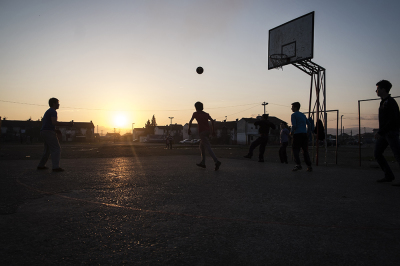 Camp Konic, Podgorica, Montenegro. Children playing basketball in the camp.