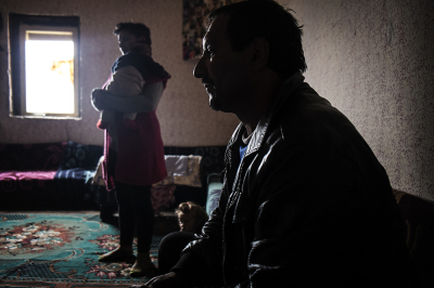 Camp Konic, Podgorica, Montenegro. Bidri Shala, 46, and his wife Seluana, 42. They live in a shack with 11 children. Even if they come from the albanian part of Kosovo, the brother of Bidri has been killed by the albanian, suspected of being an informer for the serbs.