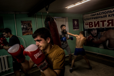 Tiraspol, Pridnestrovie. Vitez boxing club. Some athletes during their daily trainings. Among them there are also one world champion, two european champions and many in the world ranking. All of them are forced to compete under the flag of an other nation because Pridnestrovie being unrecognized, cannot partecipate in any international sport event.