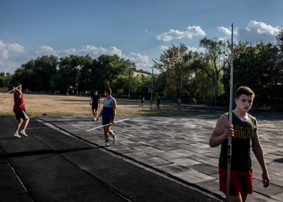 Tiraspol, Pridnestrovie. Athletic stadium, javelin daily trainings. From right to left Oleinik Aleksej, 17 years old european vice-champion, Picus Denis, 18 years old Ukrainian champion and Orlon Nikolaj (red shirt), 17 years old Russian champion. All of them are forced to compete under the flag of an other nation because Pridnestrovie being unrecognized, cannot partecipate in any international sport event.