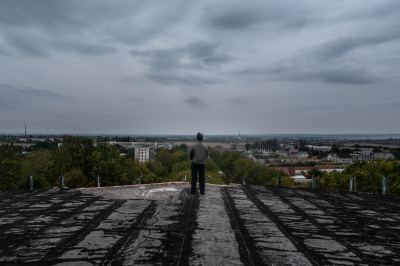Bender, Pridnestrovie. On the roof of an abandoned building few hundred meters from the border with Moldova.