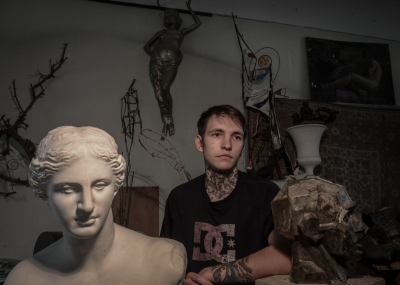 Tiraspol, Pridnestrovie. Andrej Romanov, 20 years old. Sculpture student at the Benderian high art college. his dream is to become a tattoo artist in Ukraine or Poland.