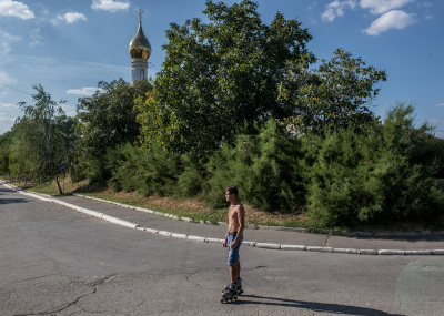 Tiraspol, Pridnestrovie. A skater in a skate park on the shore of the Dnepr river.