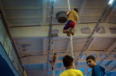 Tiraspol, Pridnestrovie. Sdiussor Gym center. Some kids during their daily martial arts trainings.