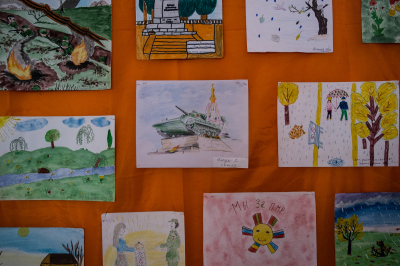 Kichcani village, Pridnestrovie. Local school's kids drawnings depicting memories of the 1992 independence war.