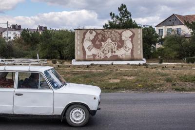 Tiraspol, Pridnestrovie. Traditional family propaganda from Soviet times.