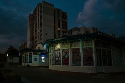 Tiraspol, Pridnestrovie. Night view of a popular district of the city.