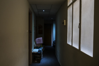 Inside one of the many hotels around Omonia, where the only business is prostitution.