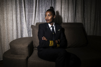 Esther Mbabazi is a professional commercial airline pilot in Rwanda. She is the first female in Rwanda to become certified as a commercial airline pilot.