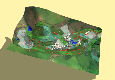 Map Data Projected onto 3D Terrain Surface